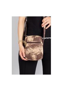 Bolsa Shoulder Bag De Couro Pietra Marrom Riscado