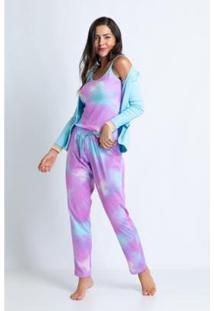 Conjunto De Pijama Acuo Longo Ribana E Malha Doce Nuvem Feminino - Feminino