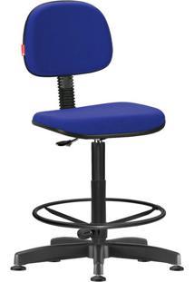 Cadeira Caixa Alta Secretária Giratória Crepe Azul Médio