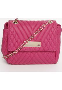 Bolsa Transversal Matelassê - Pink & Dourada - 18X19Jorge Bischoff