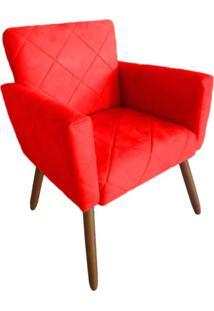 Poltrona Decorativa Pés Palito Nina Estilo Costura Vermelho - Ds Móveis - Kanui