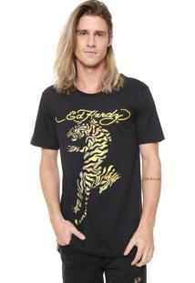 Camiseta Ed Hardy Tiger Climbing Preta