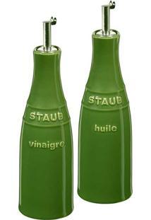 Galheteiro Óleo E Vinagre Cerâmica Verde Basil Staub
