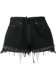 Unravel Project Bermuda Jeans Com Detalhes Rasgados - Preto
