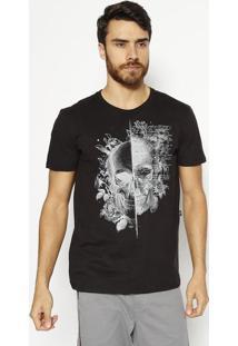 "Camiseta ""Caveira""- Preta & Cinza- Tritontriton"