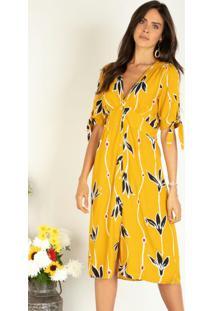 Vestido Floral Amarelo Com Abertura Em Botões