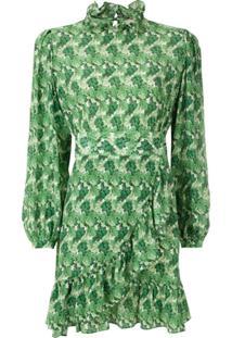 Adriana Degreas Vestido Curto Crisântemo De Seda - Verde