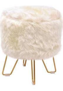 Puff Libre Pele Sintetica Branca Base Dourado 48 Cm - 49065 - Sun House