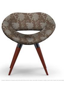Poltrona Beijo Floral Marrom Cadeira Decorativa Com Base Fixa