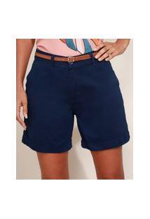 Bermuda De Sarja Feminina Cintura Alta Alfaiatada Com Cinto Azul Marinho