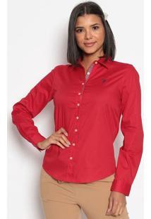 Camisa Com Bordado- Vermelha & Azul Marinhous Polo