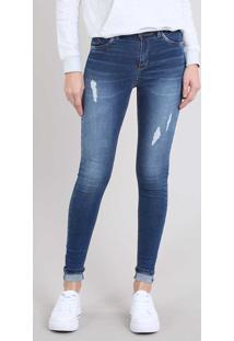 ef7e42fab CEA. Calça Jeans Feminina Skinny Com Rasgos Barra Dobrada Azul Médio