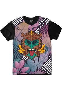 Camiseta Long Beach Totem Floral Natureza Sublimada Masculina - Masculino-Roxo