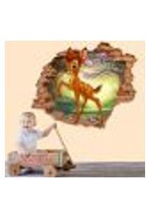 Adesivo De Parede Buraco Falso 3D Infantil Bambi 3 - Eg 100X122Cm