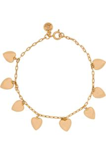 Tory Burch Pulseira 'Heart Charms' - Metálico