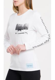 Blusa Ckj Fem Ml Andy Warhol Landscape - Branco 2 - P