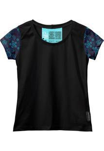 Camiseta Baby Look Feminina Algodão Estampa Flor Manga Curta Azul-Preto G Preto