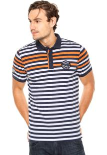 Camisa Polo Wrangler Listras Branca/Azul/Laranja