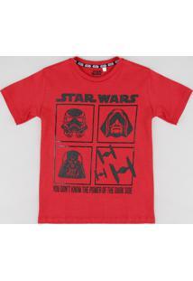 Camiseta Infantil Star Wars Manga Curta Gola Careca Vermelha