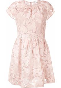 Redvalentino Vestido Com Renda Floral - Rosa
