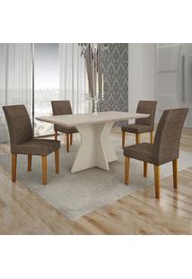 Conjunto De Mesa De Jantar Creta Iii Com 4 Cadeiras Olímpia Linho Off White E Marrom
