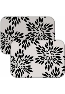 Jogo Americano Love Decor Wevans Flowers Off White/Preto - Kanui