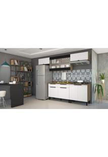 Cozinha Completa 5 Peças 11 Portas, 2 De Vidro E Paneleiro Itamaxi Itatiaia Branco/Amadeirado