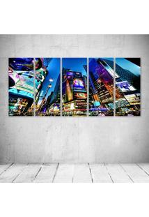 Quadro Decorativo - Times Square New York Usa City Cities - Composto De 5 Quadros - Multicolorido - Dafiti