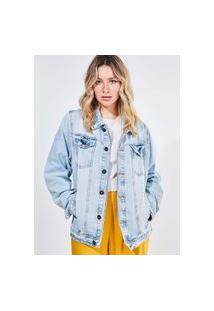Jaqueta Over Em Jeans Delavê