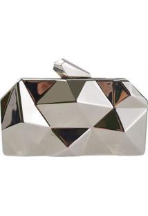 Bolsa Clutch Liage Geometrica Alça Removível Acrílico Metal Prata - Kanui