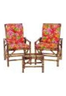 Conjunto Mesa E 2 Cadeiras De Bambu Cancun Para Área Edicula Jardim G34