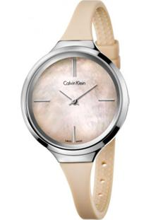 Relógio Calvin Klein Feminino Em Silicone Bege