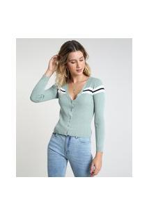 Cardigan Feminino Cropped Em Tricô Verde Claro