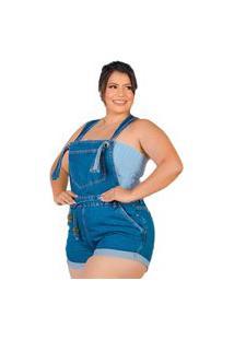 Macaquinho Jeans Plus Size Feminino Alça Regulável Com Cinto Azul