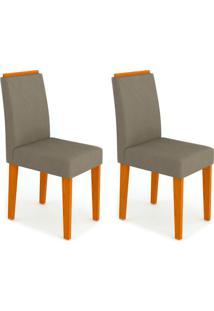 Conjunto Com 2 Cadeiras Amanda Ipê E Cinza