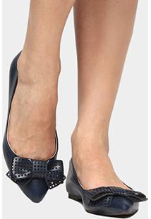 Sapatilha Shoestock Laço Laser - Feminino-Marinho