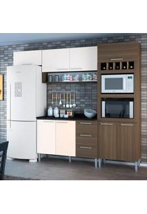 Cozinha Yasmin 0421T 8 Portas C/ Tampo – Genialflex - Castanho / Branco