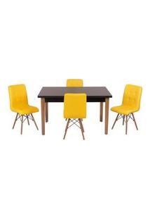 Conjunto Mesa De Jantar Luiza 135Cm Preta Com 4 Cadeiras Gomos - Amarelo
