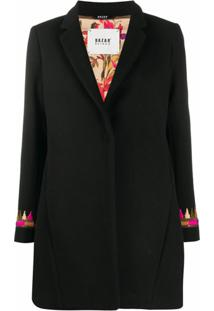 Bazar Deluxe Casaco Com Bordado E Abotoamento Simples - Preto