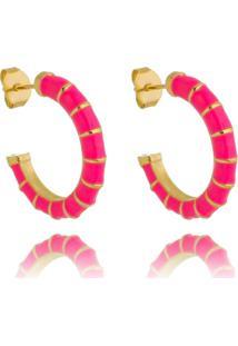 Brinco Piuka Argola Dora Pink Folheado A Ouro 18K