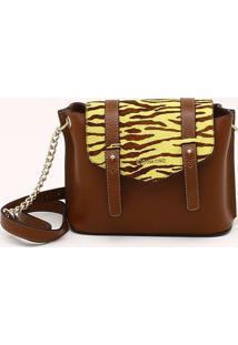 Bolsa Shoulder Bag Couro Pony Tigre Marrom Noz