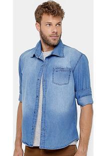 Camisa Jeans Razon Estonada Bolso Masculina - Masculino