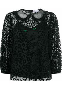 Redvalentino Blusa Translúcida Com Estampa De Leopardo - Preto