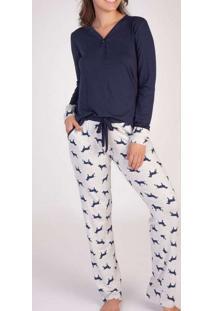 Pijama Feminino Podiun 215158 Mescla-Branco/Marinh