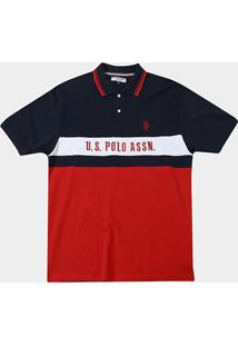Camisa Polo U.S. Assn Piquet Frisos Plus Size Masculina - Masculino-Marinho