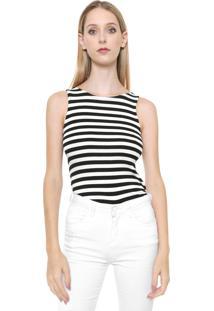 Regata Calvin Klein Jeans Listrada Transpassada Preta/Off White