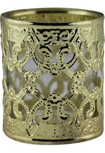 Castiçal Deorando Com Classe De Metal E Vidro Dourado 6Cmx7Cm