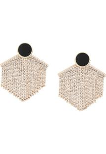 Venna Hexagon Fringe Drop Earrings - Dourado