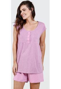 Pijama Feminino Amamentação Listrado Marisa