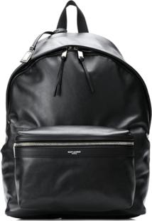 Saint Laurent Leather Look Logo Backpack - Preto